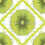 Floral Kiwi Check Seamless Vector Pattern Design