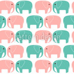Elephants In Love Seamless Vector Pattern Design