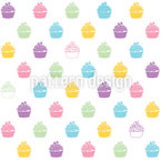 Blueberry Cupcakes Seamless Vector Pattern Design