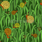 Hats Off Little Snails Seamless Vector Pattern Design