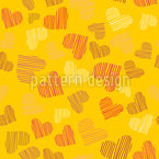 Fine Lined Sunshine Hearts Seamless Vector Pattern Design