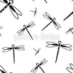 Dragonfly Swarm Seamless Vector Pattern Design