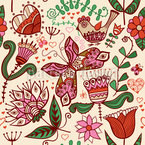 Folklore In The Love Garden Seamless Vector Pattern Design