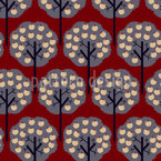 Apple Trees In Winter Seamless Vector Pattern Design