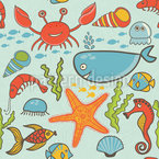 Happy Ocean Party Seamless Vector Pattern Design