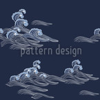Olas del Mar Estampado Vectorial Sin Costura
