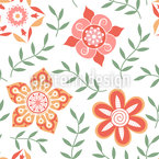 Russian Flower Compliments Seamless Vector Pattern Design