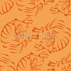 Orange Tigers Seamless Vector Pattern Design