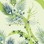 Stylized Peacock Eyes Seamless Vector Pattern Design