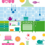 Küchenträume Einer Hausfrau Nahtloses Vektormuster
