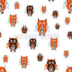 Retro Owls Seamless Vector Pattern Design