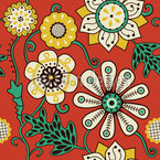 Flower People Of The Seventies Seamless Vector Pattern