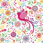 The Bird Queen In Summer Seamless Vector Pattern Design