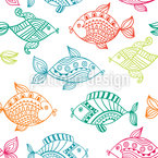 Fish In The Aquarium Seamless Vector Pattern Design