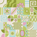 Retro Potpourri Green Seamless Vector Pattern Design