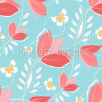 Coral Flowers Seamless Vector Pattern Design
