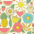 Owls On Holiday Repeat Pattern