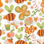 Honigsüsse Bienchen Nahtloses Vektormuster