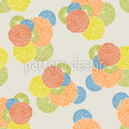 Japanese Flower Circles Vector Ornament