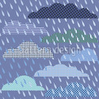 Thunder Cloud Patchwork Vector Pattern