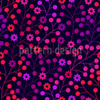 At Night In The Berry Wood Seamless Vector Pattern Design