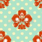 Polkadot Floral Seamless Vector Pattern Design