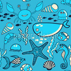 Happy Ocean Blues Seamless Vector Pattern Design