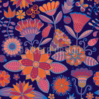 Garden Folklore At Night Seamless Vector Pattern Design