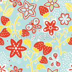 En Lillys Strawberry Paradise Estampado Vectorial Sin Costura