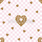Gingerbread Checkmate Hearts Repeating Pattern