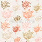 Sea Turtles Travel In Atumn Seamless Vector Pattern Design