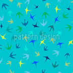 Flock Of Birds Seamless Vector Pattern Design
