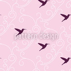 Hummingbird Damask Seamless Vector Pattern Design