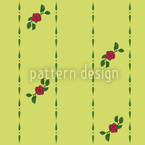 Roses On Green Seamless Vector Pattern Design