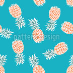Flying Pineapples Seamless Vector Pattern Design