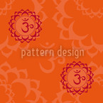 Orange Om Seamless Vector Pattern Design