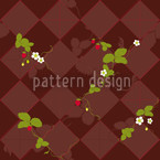Wood Strawberries Seamless Vector Pattern Design