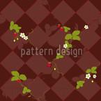 Wood Strawberries Seamless Vector Pattern