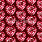 Crystal Heart Seamless Vector Pattern Design