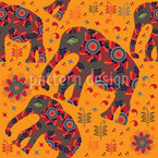 Indian Elephant Mountain Hike Seamless Vector Pattern Design