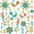 Paraíso de pássaro louco Design de padrão vetorial sem costura