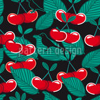 Birds In The Cherry Garden Seamless Vector Pattern Design