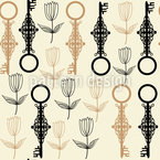 Key Flowers Seamless Vector Pattern
