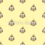 Funny Cartoon Owls Seamless Vector Pattern Design