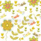 Pássaros estranhos voam sobre a cama de flores Design de padrão vetorial sem costura