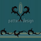 Teal Biedermeier Decor Estampado Vectorial Sin Costura