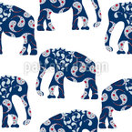 Patchwork Elephant Seamless Vector Pattern Design