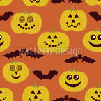 Partytime At Jack O Lantern And Bat  Seamless Pattern