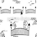 Kitten Bridge Blanco Estampado Vectorial Sin Costura