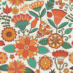 Enchanting Autumn Flowers Seamless Vector Pattern Design